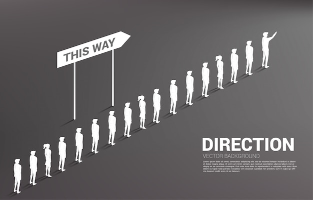 Silhouette group of businessman queue with direction. concept of business company and team direction