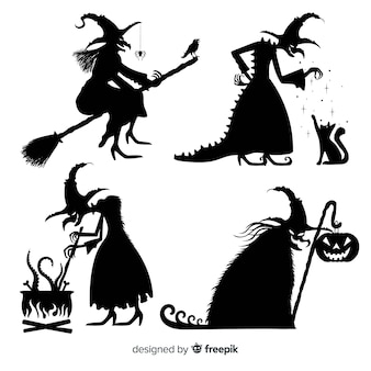 Silhouette halloween witch collection Premium Vector