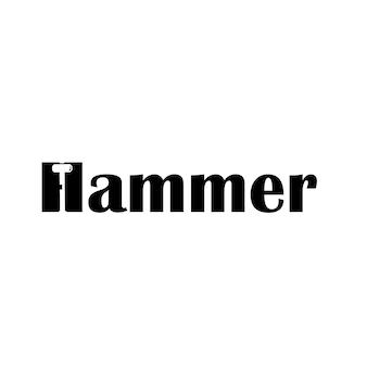 Silhouette hammer on letter h for hammer typography logo design template