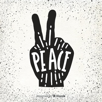Silhouette hand peace sign background