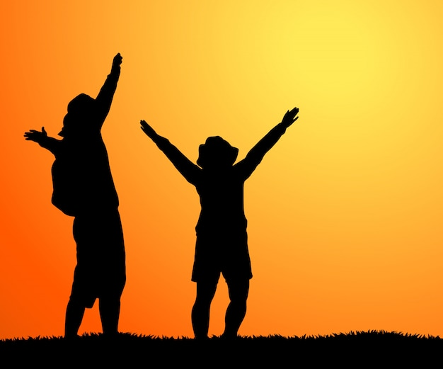 Silhouette of happy couple stand together with hands raised up and looking at beautiful sunse vector
