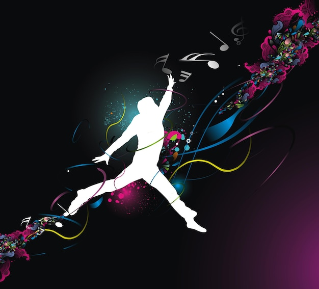 Silhouette happy men jumping with color full wave line background, vector illustration, no mesh in this vector