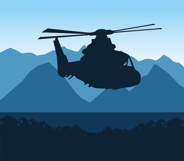Silhouette helicopter military flying scene
