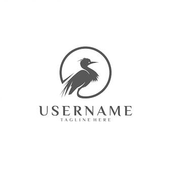 Silhouette of heron circle  logo