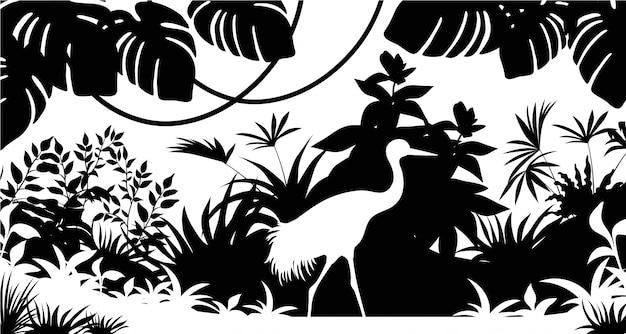 실루엣 헤론, 나뭇잎과 잔디.
