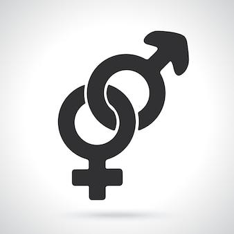 Silhouette of heterosexual gender symbol gender pictogram template or pattern vector illustration