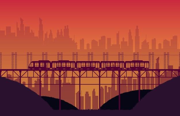 Silhouette high speed train rail road with bridge on orange gradient