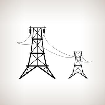 明るい背景、黒と白のベクトル図に高圧送電線のシルエット