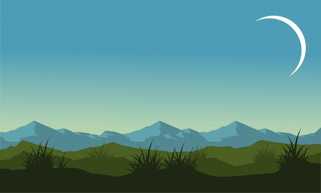 Silhouette of hill and mountain landscape