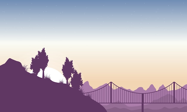 Silhouette of hill with bridge landscape