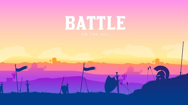 Silhouette historical battlefield at sunset.  battle scattered arms and armor around.