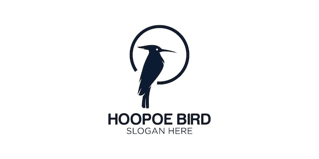 Silhouette hoopoe logo design template
