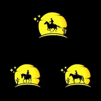 Silhouette of horse on moon logo design template Premium Vector