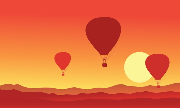 Silhouette of hot air balloon on the sunset