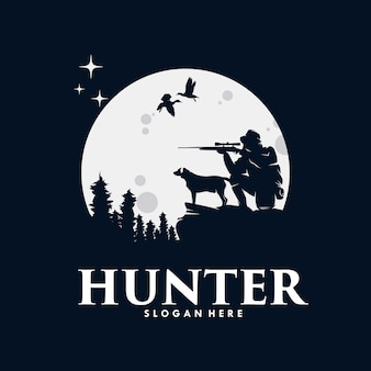 Silhouette of a hunter with hunting sniper rifle and dog Premium Vector
