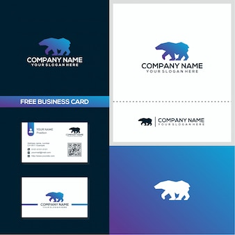 Silhouette ice bear logo and business card design concept template