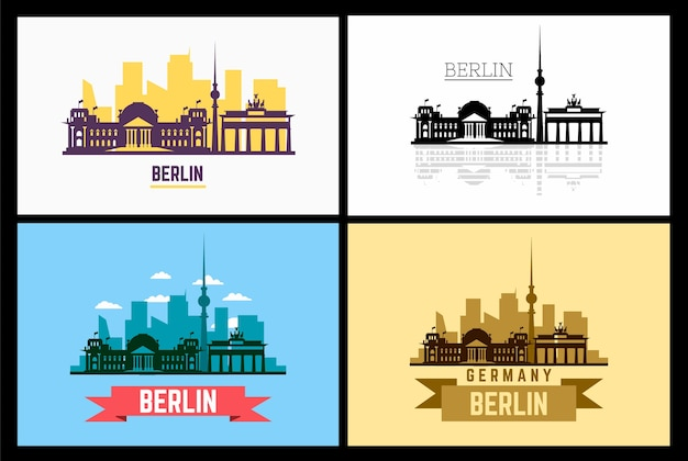 Silhouette and illustration of berlin