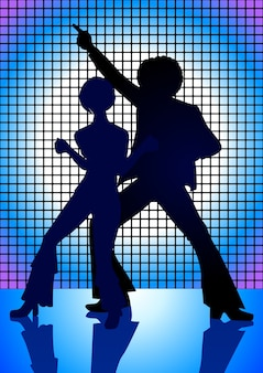 Silhouette illustration of couple disco dancing