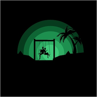 Silhouette illustration of a couple sitting on a swing vector
