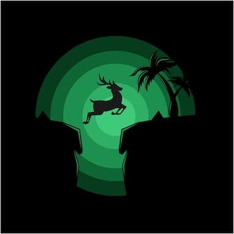 Silhouette illustration of deer jumping vector