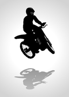 Silhouette illustration of a man riding motocross