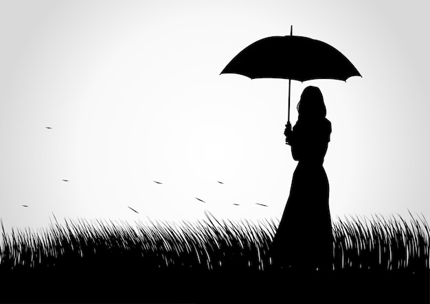 잔디 필드에서 우산을 가진 여자의 실루엣 그림
