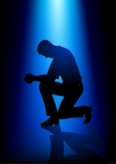 Силуэт иллюстрации человека, молящегося
