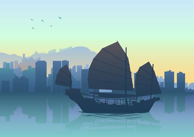 홍콩에서 정크 보트의 실루엣 그림