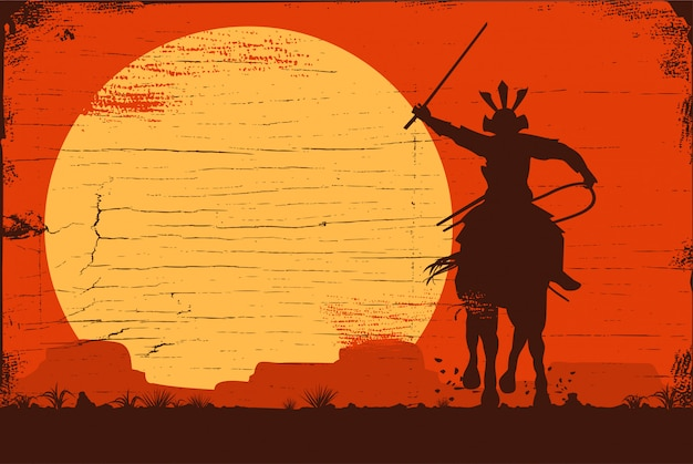Silhouette of japanese samurai warrior with sword and riding horse,