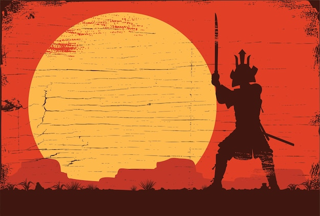 Silhouette of japanese samurai with sword standing at sunset