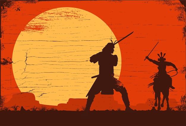 Silhouette of japanese samurai