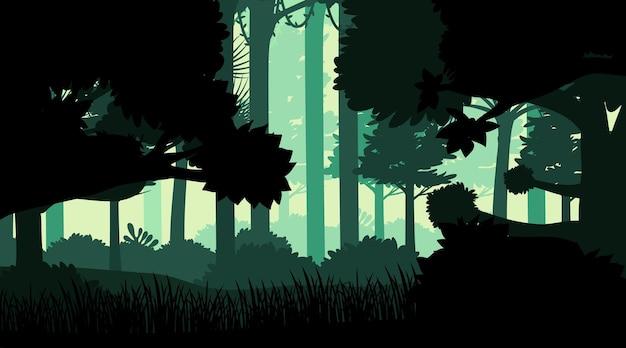Силуэт джунглей пейзажный фон