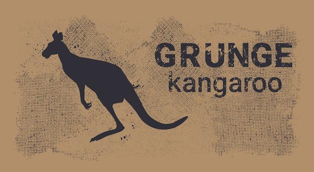 Silhouette kangaroo in grunge design style animal