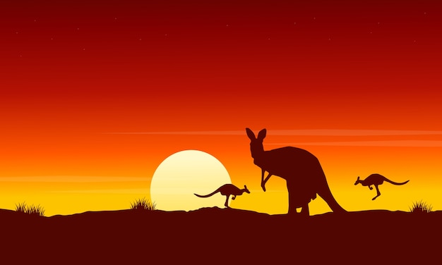 Silhouette kangaroo at sunrise landscape