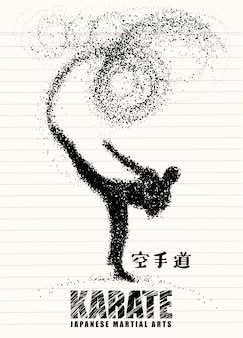 Silhouette of a karateka doing standing side kick