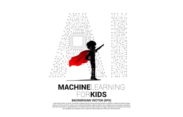 Silhouette of kid in superhero suit with dot connect line shaped ai and cpu center. concept for machine learning and artificial intelligence for future.