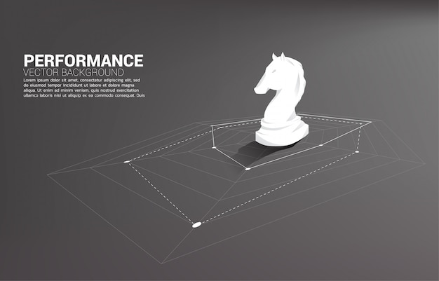 Silhouette of knight chess standing on spider chart. concept of perfect recruitment.