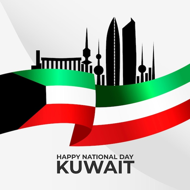 Silhouette of kuwait city flat design national day