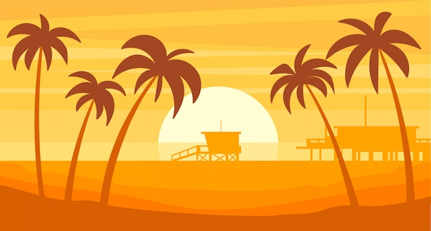 Силуэт пейзаж пляжа санта-моника с парком развлечений.