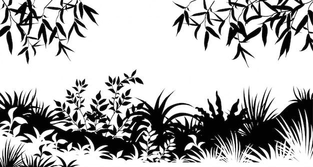실루엣 나무와 잔디 잎.