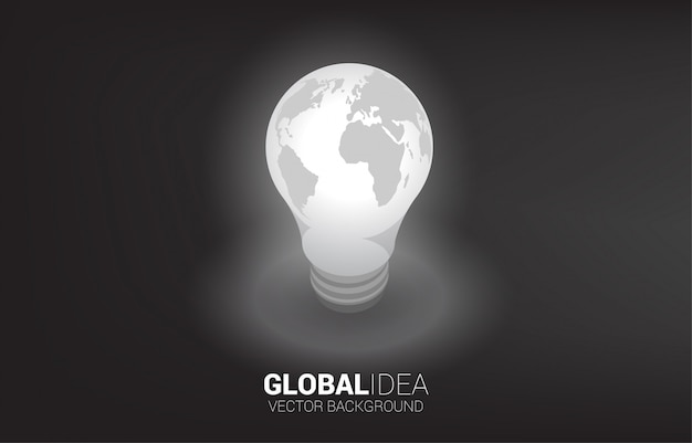 Silhouette of light bulb with world map around .