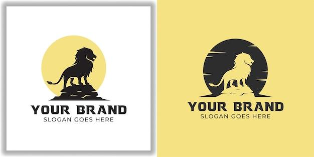 シルエットライオン野生動物ロゴベクトル側面図。勇気、勇気、力のアイコンベクトルのシンボル