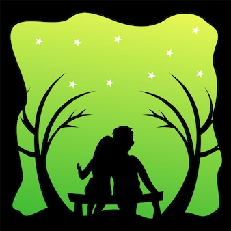 Silhouette logo of a couple sitting on a chair vector