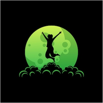 Silhouette logo of man jumping on the moon vector