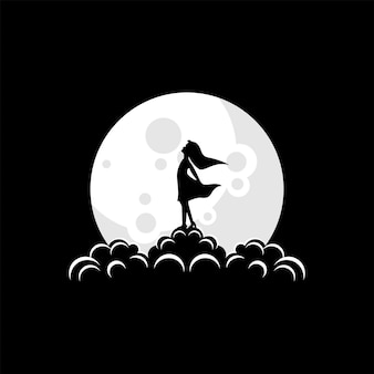 Силуэт логотип женщины на луне вектор