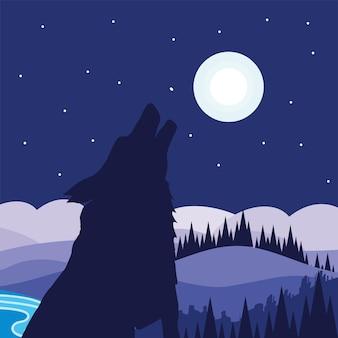 실루엣 외로운 늑대