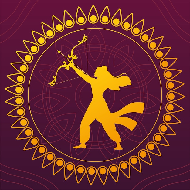 Silhouette of lord rama with bow and arrow for indian festival