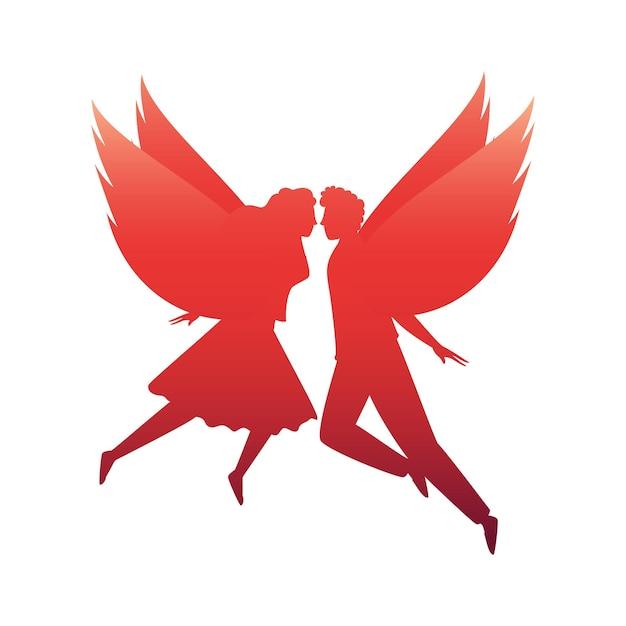 흰색 배경에 실루엣 사랑 천사 커플