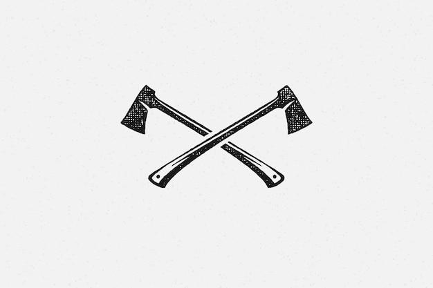 Silhouette lumberjack axes crossed as symbol of logging industry