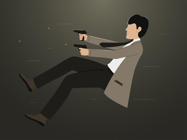 The silhouette of a man shooting pistols